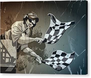 Checkered Flag Grunge Monochrome Canvas Print