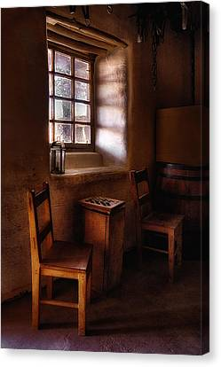 Checkers At Bent's Old Fort Canvas Print by Priscilla Burgers