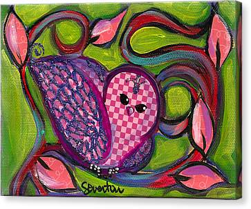 Checkers Birdy Canvas Print by Shelley Overton
