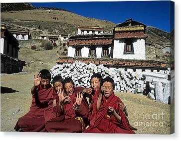 Cheeky Young Tibetan Monks Canvas Print