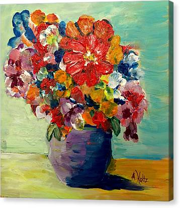 Canvas Print featuring the painting Cheerful Flowers In Pot by Arlene Holtz