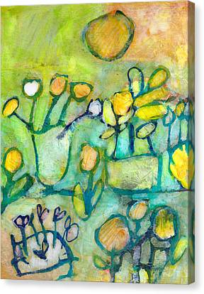 Canvas Print featuring the mixed media Cheerful Garden by Catherine Redmayne