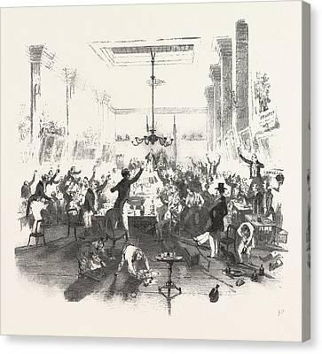Cheering The Speech Canvas Print by English School