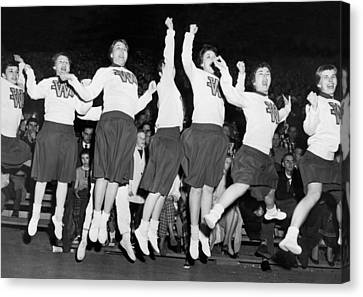 Cheerleaders Jump For Joy Canvas Print by Underwood Archives