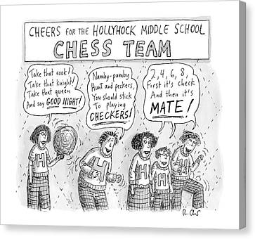 Cheerleaders Canvas Print - Cheers From The Hollyhock Middle School Chess by Roz Chast