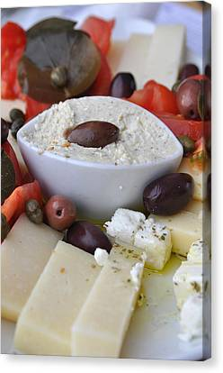 Cheese And Olives Canvas Print by Kathy Schumann