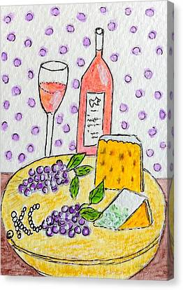 Cheese And Wine Canvas Print by Kathy Marrs Chandler