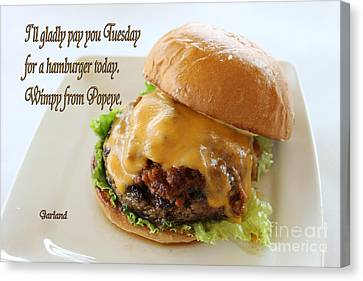 Hamburger Canvas Print - Cheese Burger by Garland Johnson