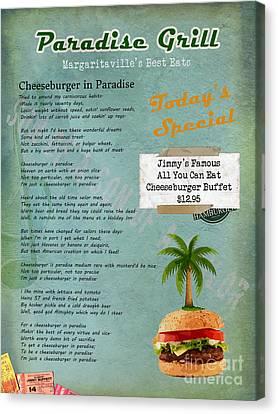 Cheeseburger In Paradise Jimmy Buffet Tribute Menu  Canvas Print