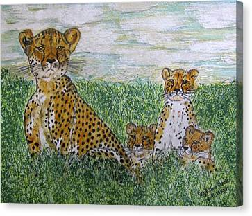 Cheetah And Babies Canvas Print by Kathy Marrs Chandler