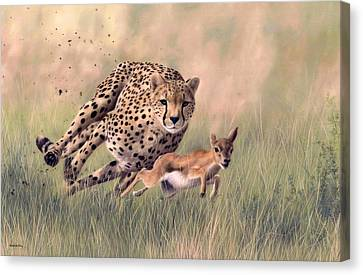 Cheetah And Gazelle Painting Canvas Print by Rachel Stribbling