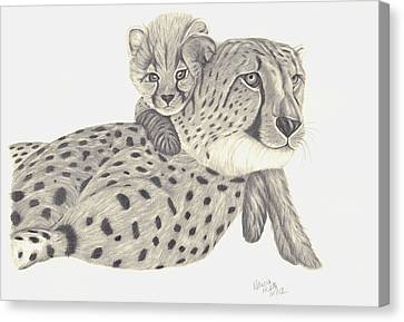 Canvas Print featuring the drawing Cheetah And Her Cub 1 by Patricia Hiltz