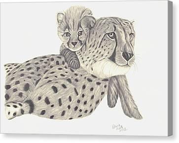 Cheetah And Her Cub 1 Canvas Print by Patricia Hiltz