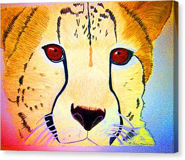 Cheetah With Color Canvas Print by Jean Marie Economen