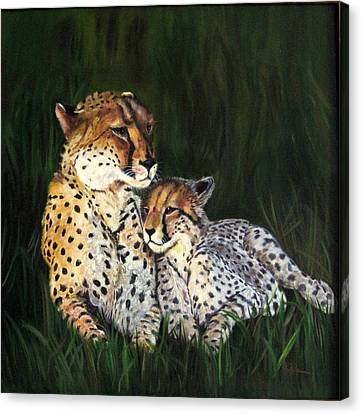 Canvas Print featuring the painting Cheetahs by LaVonne Hand