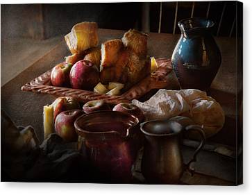 Chef - Food - A Tribute To Rembrandt - Apples And Rolls  Canvas Print by Mike Savad