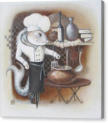 Canvas Print featuring the painting Chef by Marina Gnetetsky