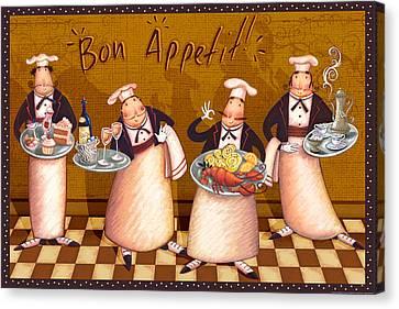 Italian Kitchen Canvas Print - Chefs Bon Appetit by Viv Eisner