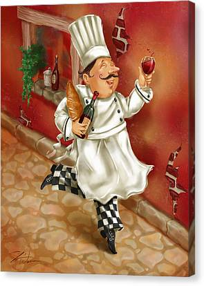 Chefs With Wine I Canvas Print