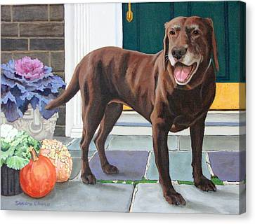 Dog At Door Canvas Print - Chelsea At The Door by Sandra Chase