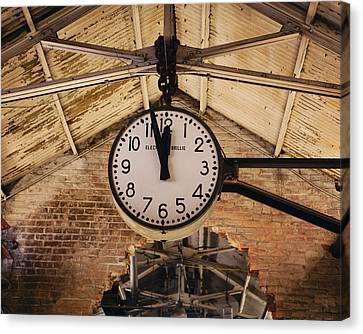 Canvas Print featuring the photograph Chelsea Market Clock by Kim Fearheiley