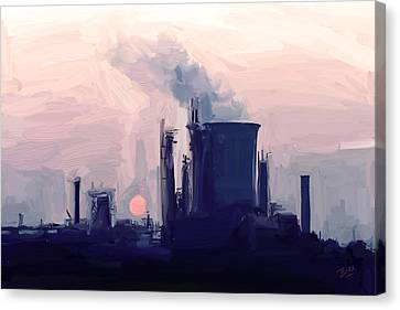 Canvas Print featuring the painting Chemical Sunset by Nop Briex