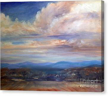 Canvas Print featuring the painting Chenango River Valley by Sally Simon