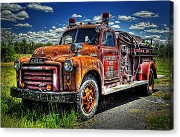 Cherokee Fire Truck Canvas Print by Ken Smith