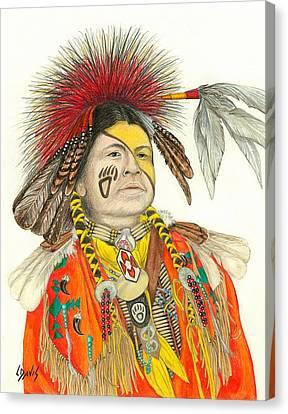 Cherokee In Orange Canvas Print by Lew Davis