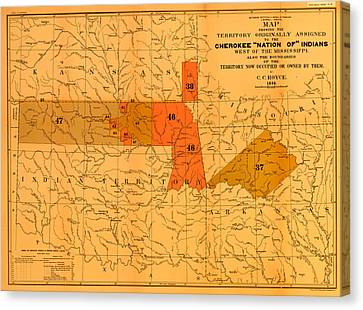 Cherokee Nation Of Indians 1884 Canvas Print by Mountain Dreams