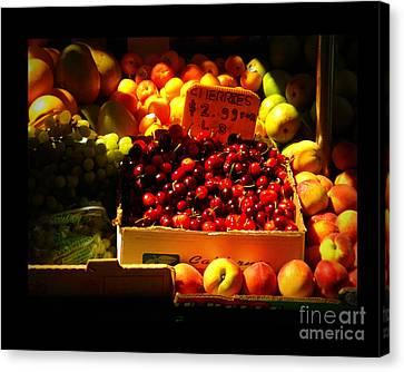Canvas Print featuring the photograph Cherries 299 A Pound by Miriam Danar