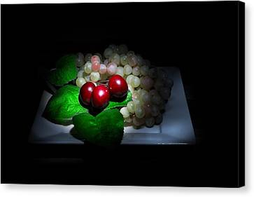 Cherries And Grapes Canvas Print by Cecil Fuselier