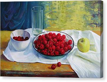 Cherries Canvas Print by Elena Oleniuc
