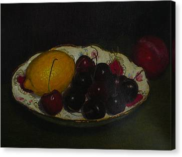 Cherries In A German Dish Canvas Print