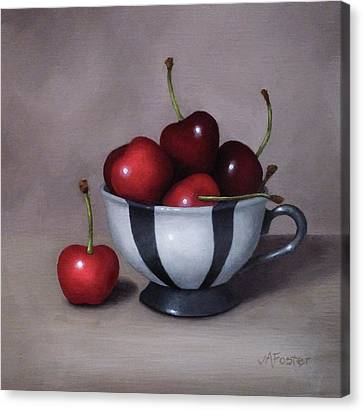 Cherries In A Teacup Canvas Print by Jordan Avery Foster