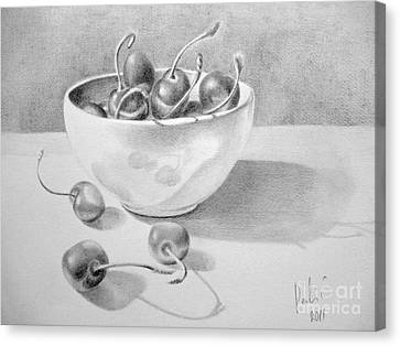 Canvas Print featuring the painting Cherries In White Bowl by Eleonora Perlic