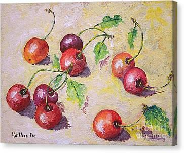 Cherries On The Ground Canvas Print by Kathleen Pio