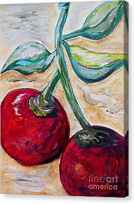 Bistro Canvas Print - Cherries On White Chocolate by Eloise Schneider