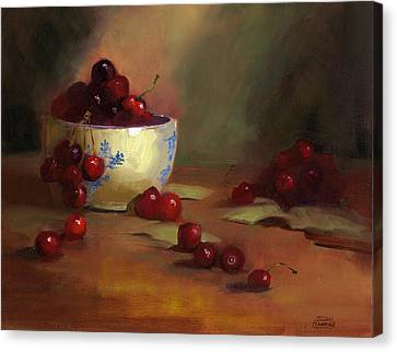 Canvas Print featuring the painting Cherries by Susan Thomas