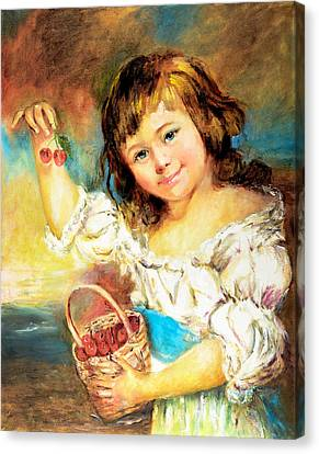 Cherry Basket Girl Canvas Print by Sher Nasser