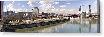 Cherry Blossom Along Portland Oregon Waterfront Panorama Canvas Print by Jit Lim