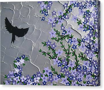 Cherry Blossom And Bird Canvas Print
