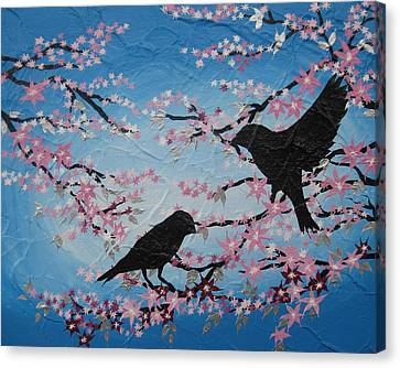 Cherry Blossom Birds Canvas Print by Cathy Jacobs