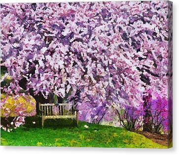 Canvas Print featuring the painting Cherry Blossom by Georgi Dimitrov