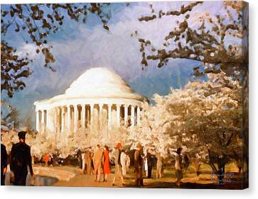 Cherry Blossom Jefferson Memorial 1950s Canvas Print by Spyder Webb