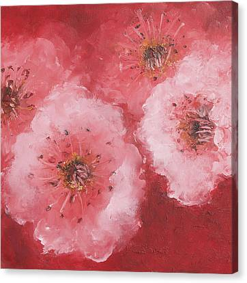 Cherry Blossom On Rich Red Background Canvas Print by Jan Matson