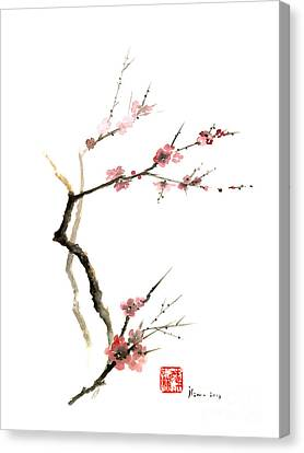Cherry Blossom Sakura Flowers Pink Red White Brown Black Tree Flower Watercolor Painting Canvas Print by Johana Szmerdt