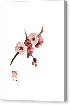 Pink Flower Branch Canvas Print - Cherry Blossom Sakura  Pink Tree Delicate White Flower Flowers Branch Watercolor Painting by Johana Szmerdt