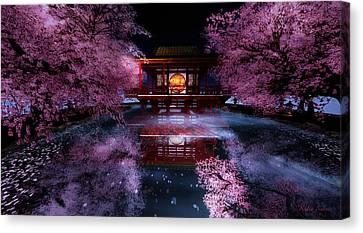 Cherry Blossom Tea House Canvas Print