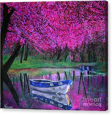 Cherry Blossoms By The Lake Canvas Print by Marie-Line Vasseur